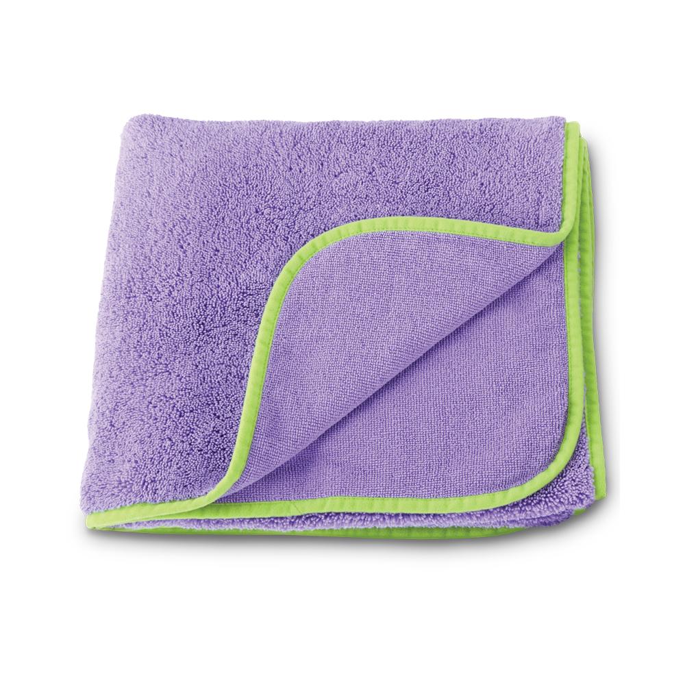 Kids Towel, purple with lime green trim