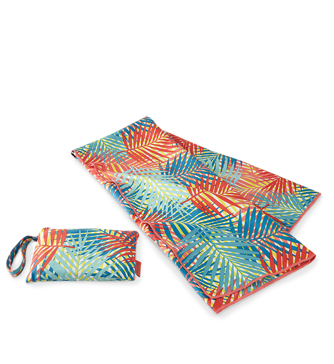 Beach Towel with Carrying Pouch, palm